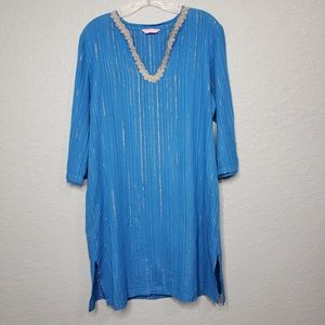 Lilly Pulitizer Caftan Blue And Gold Tunic Dress